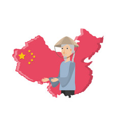 map china with old man peasant vector image