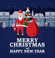 Merry christmas and happy new year holiday santa vector