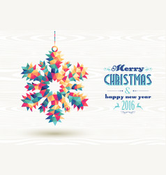 Merry christmas happy new year 2016 triangle snow vector image