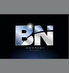 Metal blue alphabet letter bn b n logo company vector
