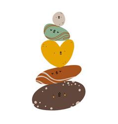 Mindfulness pile stones cute cartoon vector