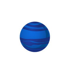neptune blue planet of solar system in flat style vector image
