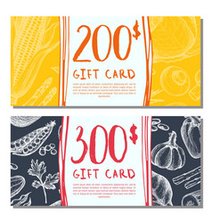 organic food shop gift card set vector image
