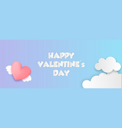 paper cut valentines day origami web banner vector image