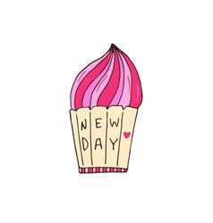 pink cupcake hand drawn vector image