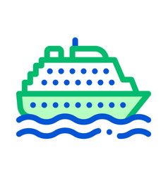 Public transport ferry thin line sign icon vector