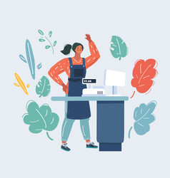 Retail woman cashier isolated vector