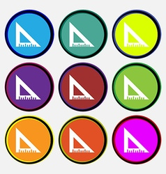 ruler icon sign Nine multi colored round buttons vector image