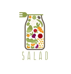 Salad in jar with fork design template vector