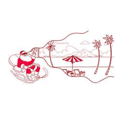 santa in sledge wear digital glasses virtual vector image