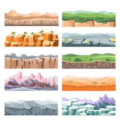 Sceneries and landscapes different lands or vector