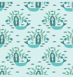 seamles mermaid pattern vector image