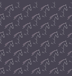 Seamless pattern white horses violet background vector