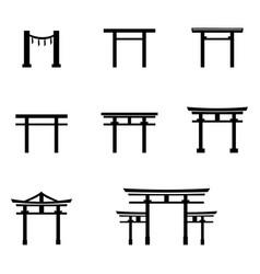 Set black silhouette torii gate icons vector
