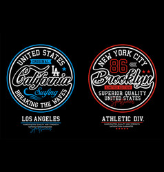 set california brooklyn typography for t shirt vector image