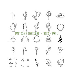Set linear icons trees part 3 vector
