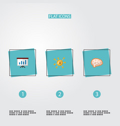 Set of startup icons flat style symbols with brain vector
