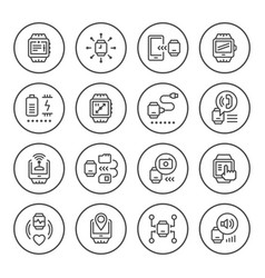 set round line icons smart watch vector image