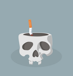 skull with cigarette butt vector image