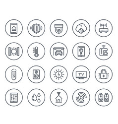 smart house home automation system line icons vector image