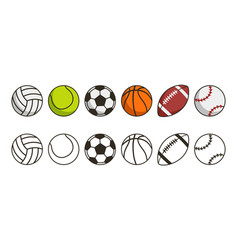 sport ball set game balls icons volleyball vector image