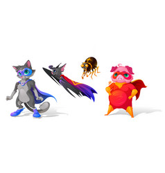 superhero animals cartoon characters funny heroes vector image