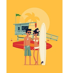Surfing Couple vector