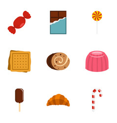 Sweet food icon set flat style vector