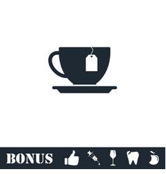 Tea icon flat vector