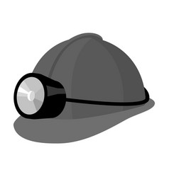 The helmet of a miner with a flashlightgear vector