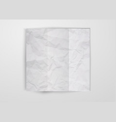 three times folded white crumpled paper sheet vector image