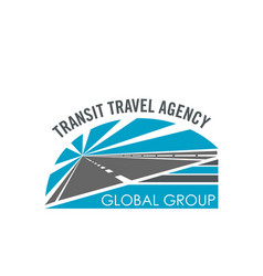 Transit travel agency road icon vector