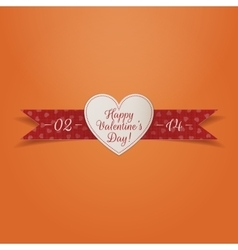 Valentines Day paper Heart Label with red Ribbon vector