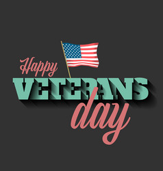 veterans day banner with the american flag vector image