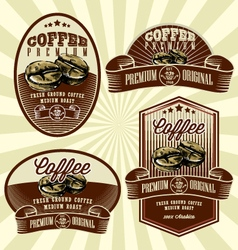 vintage retro coffee label set vector image