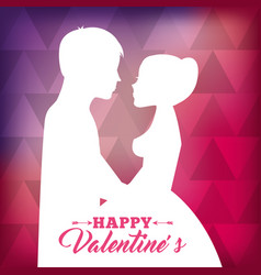 white silhouette of couple love together with pink vector image