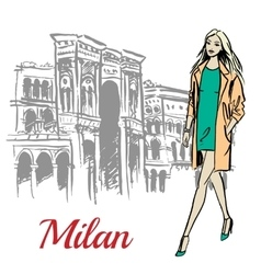 Woman walking near Milan vector