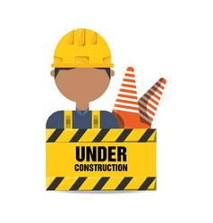 Worker man under construction concept vector