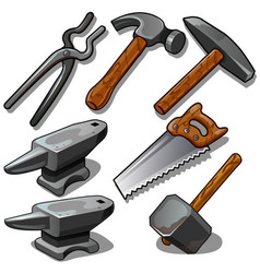Working tool of blacksmith and carpenter isolated vector