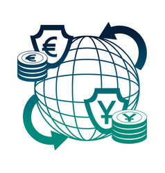 World trade business money euro yen foreign vector