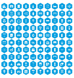 100 home icons set blue vector image vector image