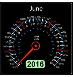 2016 year calendar speedometer car June vector image vector image