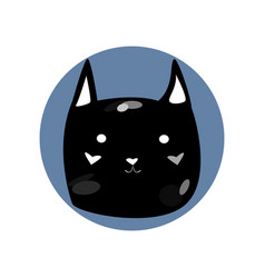 black spotted cute cartoon style cat in shape of vector image