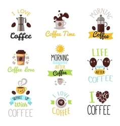 Coffee time drinks badges vector image vector image