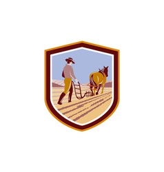 Farmer and Horse Plowing Farm Field Crest Retro vector image vector image