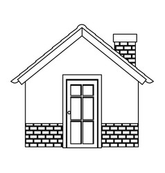 silhouette comfortable facade house with chimney vector image vector image