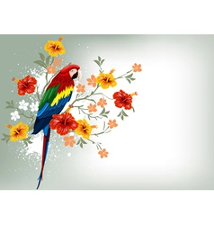 bright parrots sitting on a branch vector image vector image
