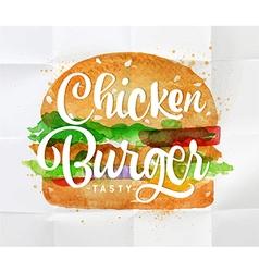 Chiken burger watercolor vector image vector image
