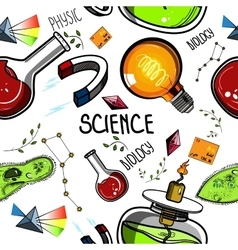 Colored Hand drawn science pattern vector image