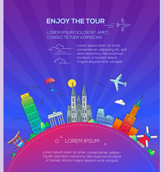 enjoy the tour - flat design travel composition vector image
